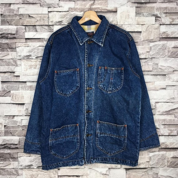 Vintage 90s CLASSIC Workwear Denim Chore Jacket Fo