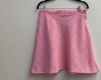 7976c07dc vintage 1970s pink and white gingham skirt \\ Alden's Fashions Chicago \\  medium to large