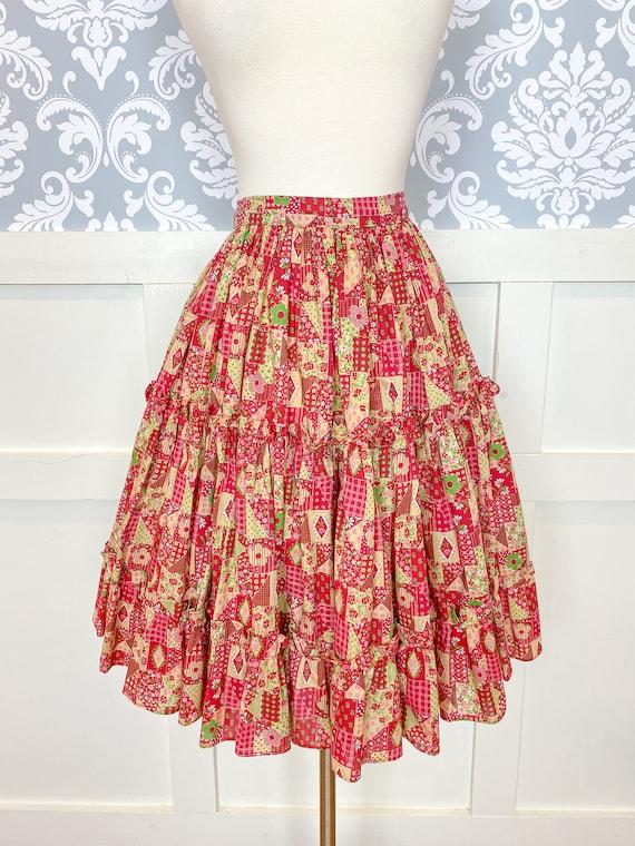 1970s vintage faux patchwork square dance skirt  