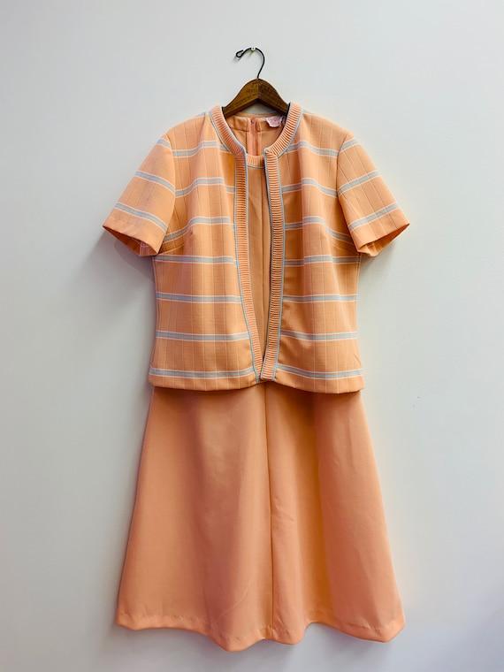 vintage 1960s two-piece peach orange midi dress se