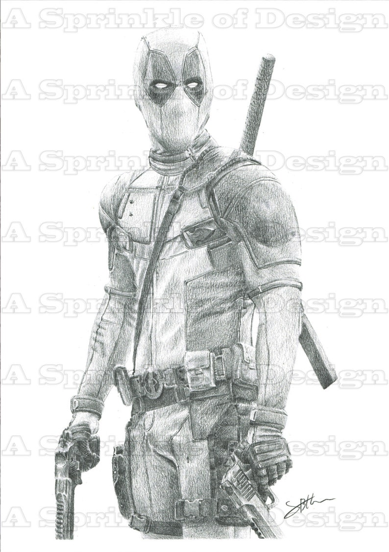 Marvel deadpool fan art pencil drawing original