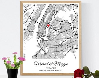 Personalized Engagement Map Gift for Couple, Wedding Gift Map Print Newlywed Gift for Her, Paper Anniversary Gift for Husband Wife Him Men