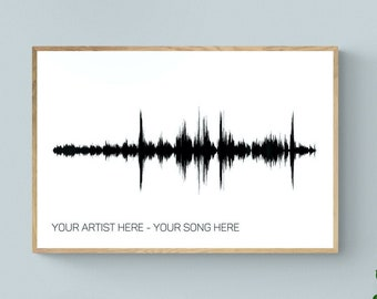 Personalized Gift for Him Soundwave Art Print, Paper Anniversary Gift for Husband Boyfriend Men, Sound Wave Art Gift for Her Girlfriend Wife