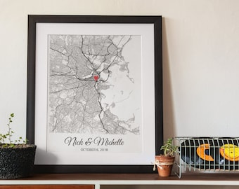 Personalized Wedding Map Wedding Gift For Couple, Engagement Gift for Her, Newlywed Gift for Husband Him Men, Bridal Shower Gift for Wife