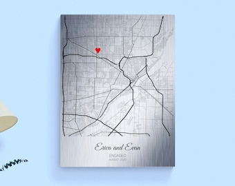 10 Year Anniversary Gift for Him, Tin Anniversary Gift Personalized Map, Aluminum Print Gift for Husband Her Wife Men