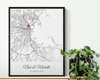 Personalized Wedding Map Gift for Bride from Maid of Honor, Sister Wedding Gift for Her, Bride Gift from Best Friend Wedding Gift for Couple
