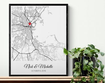 Best Friend Wedding Gift Wedding Map Print, Bride Gift from Maid of Honor from Bridesmaid, Bridal Shower Gift for Sister Wedding Gift