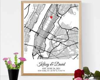 Wedding Map Anniversary Gift for Husband, Paper Anniversary Gift for Him, Wedding Anniversary Gift for Wife, First Anniversary Wife Gift