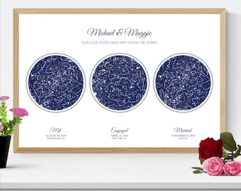 Met Engaged Married Custom Night Sky Star Map, Engagement Wedding Anniversary Gift for Couple, Christmas Holiday Gift for Husband Wife Him