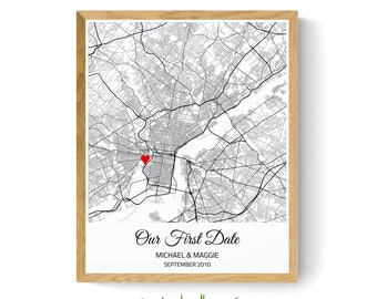 Personalized Where We Met Map Gift for Boyfriend, Our First Date Map Art Print Gift for Him Men Husband, Paper Anniversary Gift for Wife Her