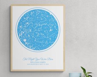 Night Sky Day You Were Born Custom Star Map, New Mom New Baby New Parents Gift, Newborn Nursery Art