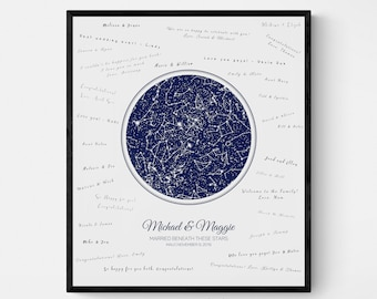 Personalized Star Map Guest Book, Night Sky Wedding Guestbook, Custom Astronomy Celestial Wedding Decor, Night Sky Guestbook Print