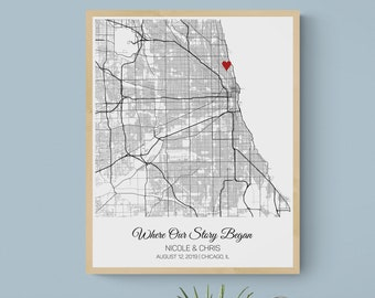 Where it All Began Map Anniversary Gift for Boyfriend, Our First Date Anniversary Gift for Girlfriend Her, Where We Met Map Gift for Him Men