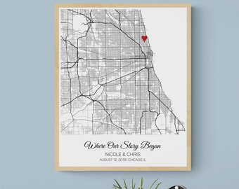 Where We Met Map Personalized Gift for Him, Paper Anniversary Gift for Boyfriend Men, Birthday Gift for Husband, Husband Gift for Wife Her