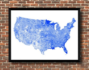River Map United States Map USA Map Print USA Map Poster US | Etsy