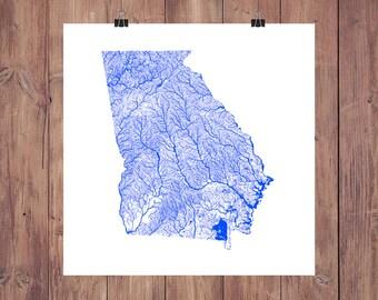 Georgia Rivers & Waterbodies High Resolution Digital Print / Map of Georgia / Georgia Print / Georgia Art / Georgia Map / Georgia Rivers