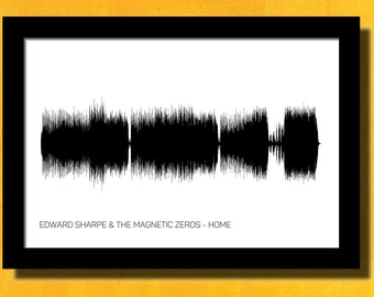 Edward Sharpe and The Magnetic Zeros Home Poster Soundwave Art Music Art Edward Sharpe and The Magnetic Zeros Poster Minimalist Home Song