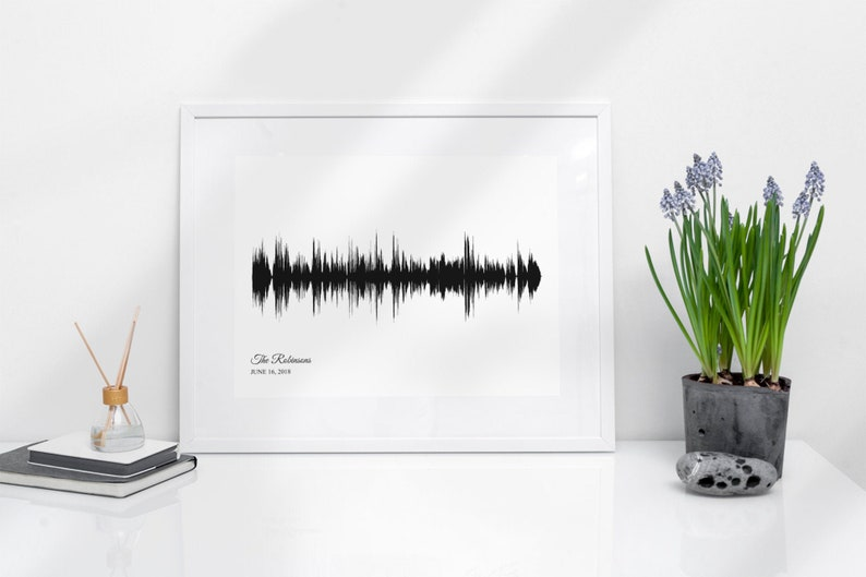 1st Anniversary Gift for Wife Sound Wave Art Wife Gift One image 0