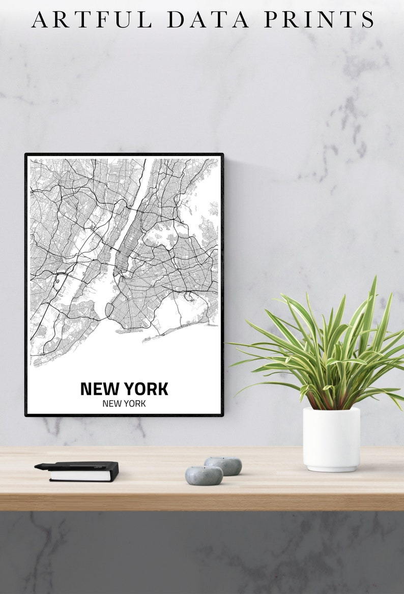 New York City Map Print New York Map New York Poster New image 0