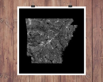 Arkansas Roads High Resolution Digital Print / Map of Arkansas / Arkansas Print / Arkansas Wall Art / Arkansas Poster / Arkansas Map Art