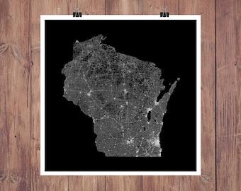 Wisconsin Roads High Resolution Digital Print / Map of Wisconsin / Wisconsin Print / Wisconsin Wall Art / Wisconsin Poster / Wisconsin Map