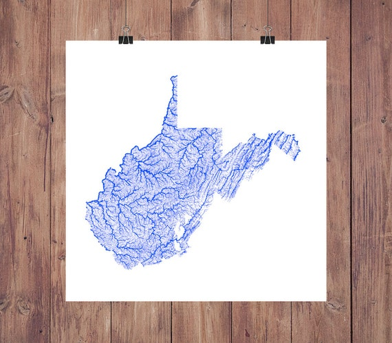 West Virginia Map High Res Map of West Virginia Rivers / | Etsy