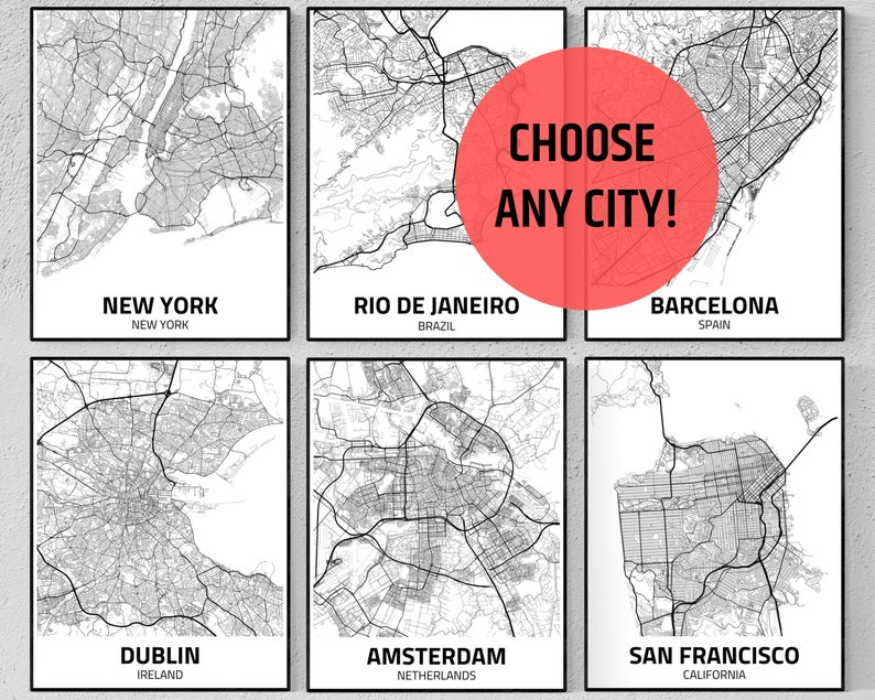 City Map Print Personalized Map Art Custom Map Poster image 0