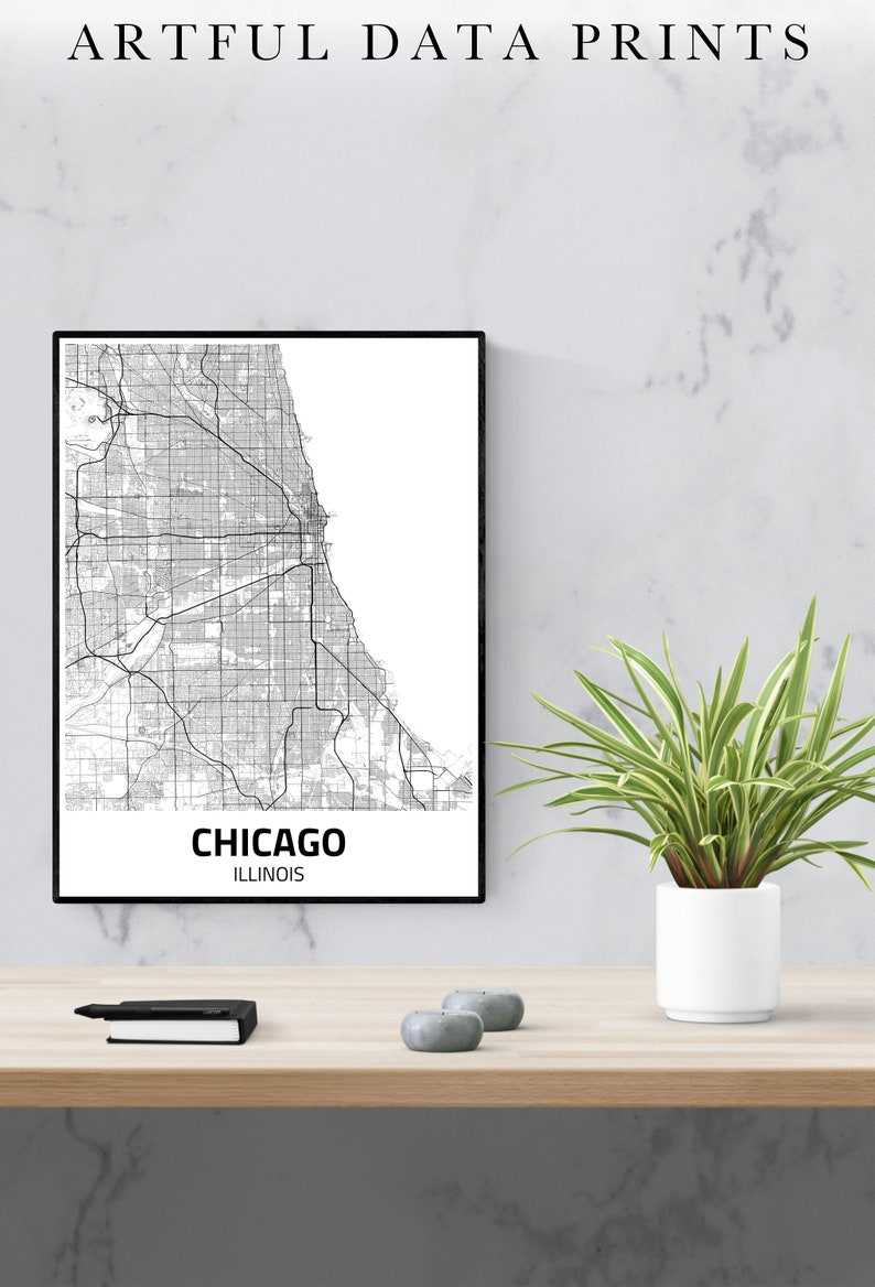 Chicago City Map Print Chicago Map Chicago Poster Chicago image 0