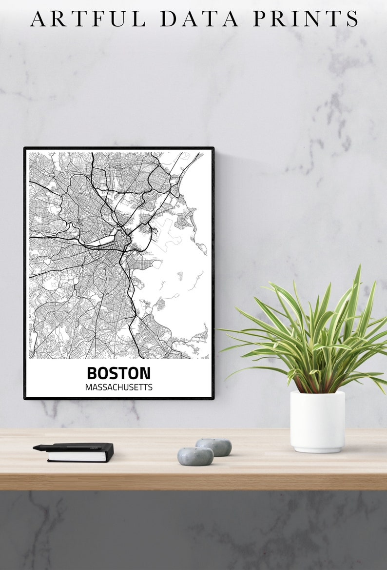 Boston City Map Print Boston Map Boston Poster Boston image 0