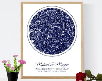 Custom Star Map Astronomy Gift for Her, Night Sky Constellation Print Engagement Gift for Husband Boyfriend Him Men, Personalized Gift Map