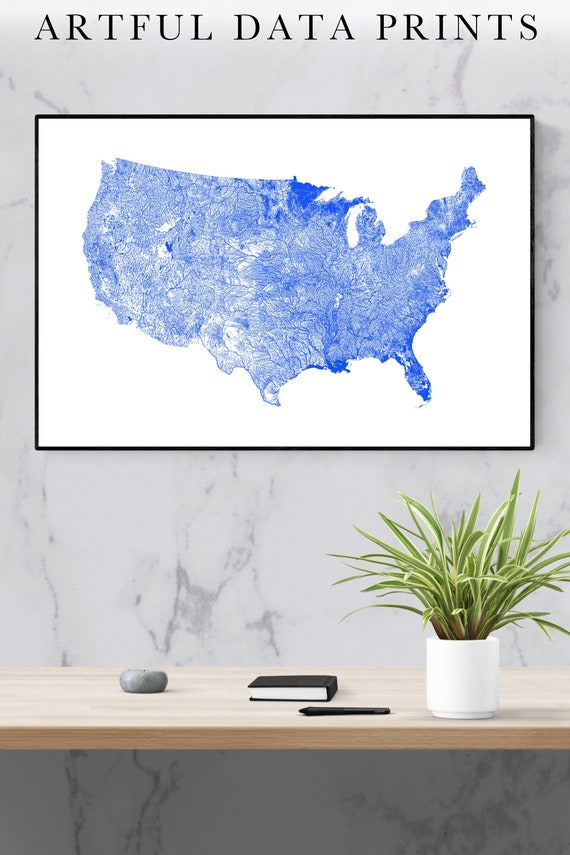 United States Map River Map of the US Art Print US Map Print US Map Us Art  Map of United States Map of Us River Decor Usa Map