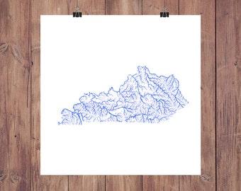 Kentucky Map - High Res Digital Map of Kentucky Rivers / Kentucky Print / Kentucky Art / Kentucky Poster / Kentucky Gift / Kentucky Wall Art