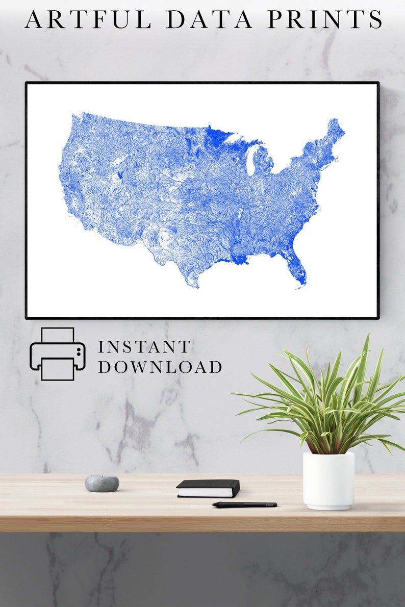 United States Map, River Map of the US, USA Map Poster, America Print,  America Art, America Wall Art, USA Poster, United States Map, Us Map