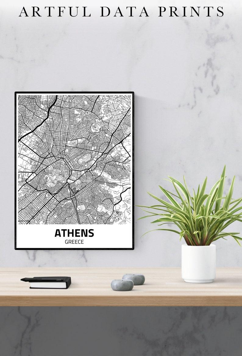 Athens City Map Print Athens Map Athens Poster Athens image 0