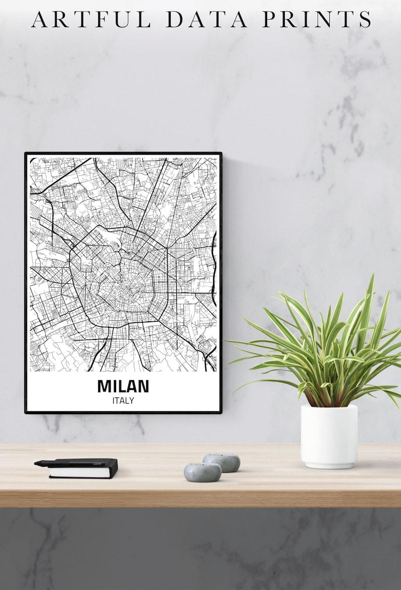 Milan City Map Print Milan Map Milan Poster Milan Print image 0