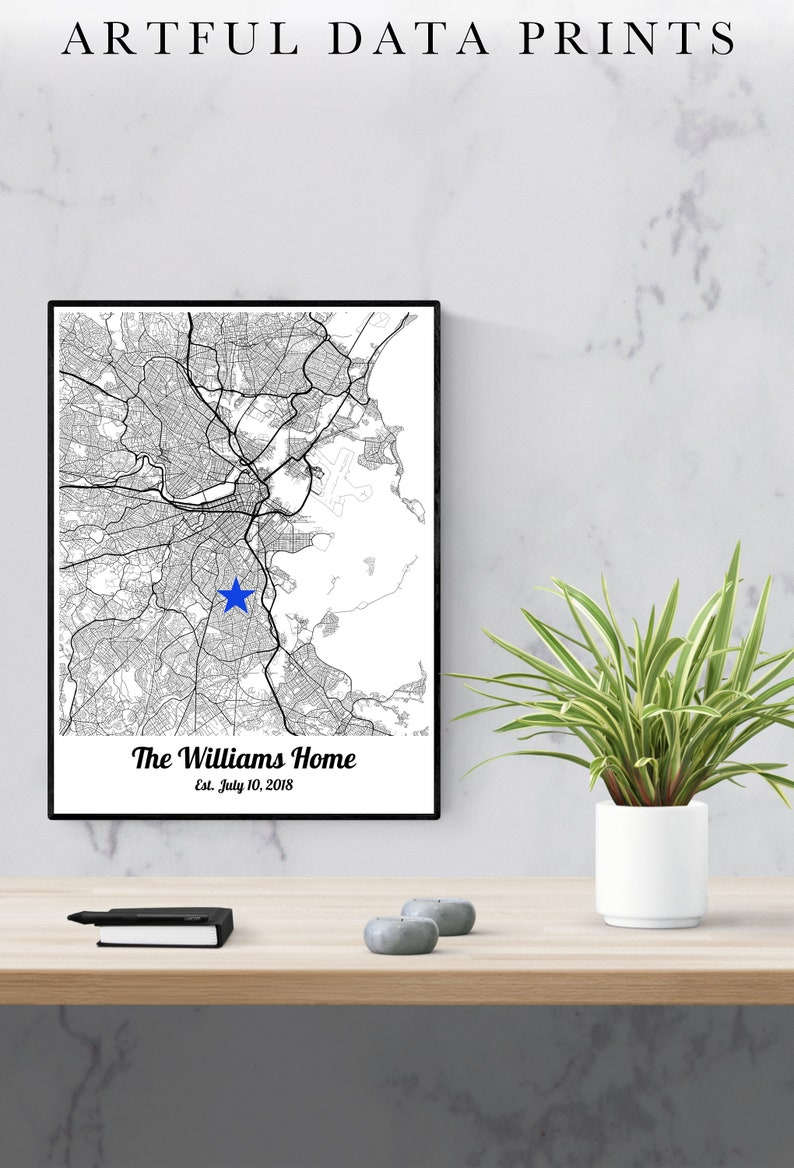Our First Home Map Art Personalized Housewarming Gift House image 0