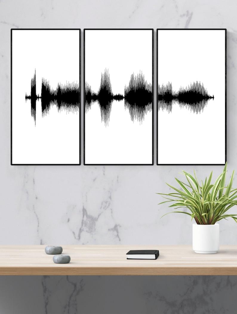 Soundwave Art Triptych Gift for Boyfriend Set of Three Prints image 0