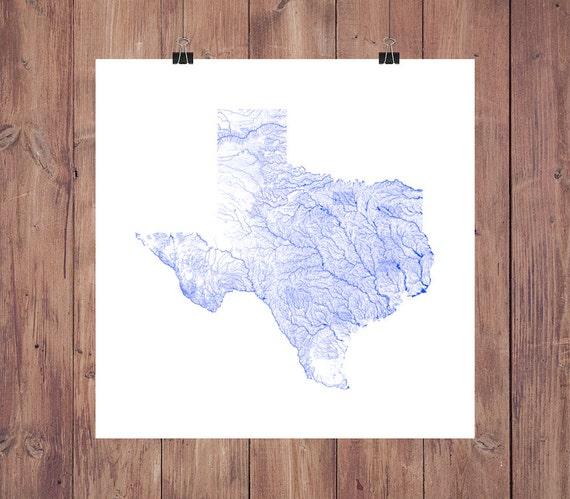 Texas Map Texas Rivers High Resolution Map Of Texas Texas Etsy