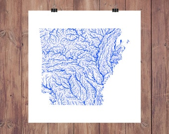 Arkansas Map - High Res Digital Map of Arkansas Rivers / Arkansas Print / Arkansas Art / Arkansas Poster / Arkansas Wall Art / Arkansas Gift