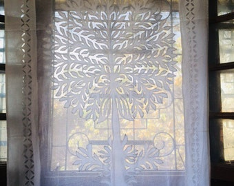White Cotton Organdy Cut Work Curtains Tree Of Life Dry Indian Summer Tab Loop