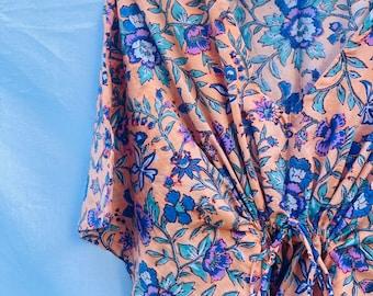 Boho Cotton Block Print Kaftan Dress - Kaftan Kimono - Kaftan Dress - Boho Beachwear - Cotton Weavers