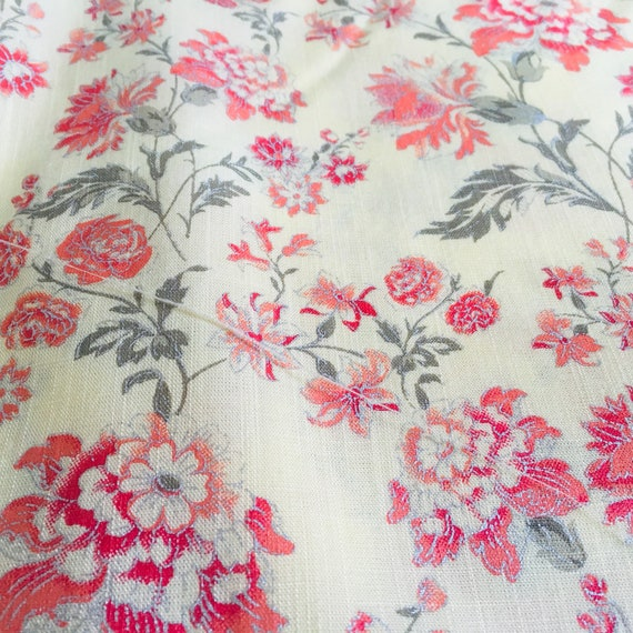 10 Yard Indian Floral Printed Fabric Cotton Like Bandana Upholstery Quilting