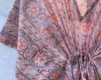 Purple Block Print Cotton Kaftan Kimono - Block Print Cotton Kaftan - Loungewear Kaftan - Beach wear Cotton Kaftan - Caftan Dress - Caftan