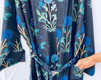 Blue Block Print Cotton Robe - Loose Robe - Robe Kimono - Cotton Weavers - Cotton Kimono - Beach cover up - Cotton Robe - Bath Robe