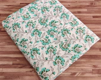 White Green Block Print Fabric - Cotton Fabric - Fabric By the Meter - 45in Width - Indian Fabric - Soft Cotton Fabric - Cotton Weavers
