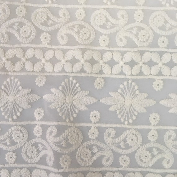 Indian Embroidery Fabric Georgette Chikankari Embroidery Etsy