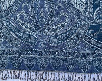 Blue Boho Paisley Cotton Wool Throws - Cotton Wool comforters - Woven Cotton Comforters - Pashmina Throw - Cotton Comforter - Bohemian