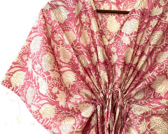 Block Print Cotton Kaftan - Block Print Kaftan - Cotton Kaftan - Loose Kimono - Loungewear - Beach Wear - Casual Wear Dress - Beach Cover Up
