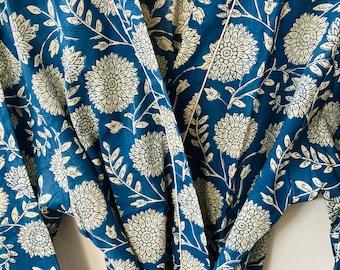 Blue Cotton Robe - Cotton Kimono - Block Print Robe - Cotton Kimono - Beach Cover Up - Lounge Wear - Night Cover Up Robe - Casual wear