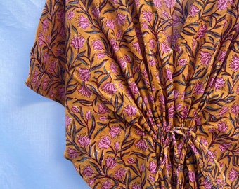 Boho Cotton Block Print kaftan Dress - Caftan Kimono - Cotton Weavers - Kaftan loungewear - Caftan